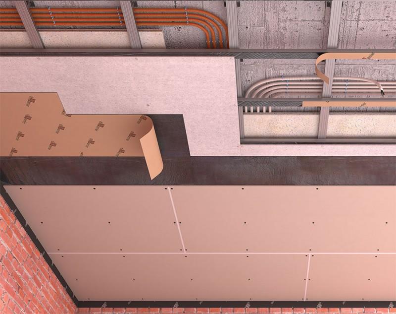 Каркасная звукоизоляция потолка на двухуровневых подвесах (потолок стандарт)
