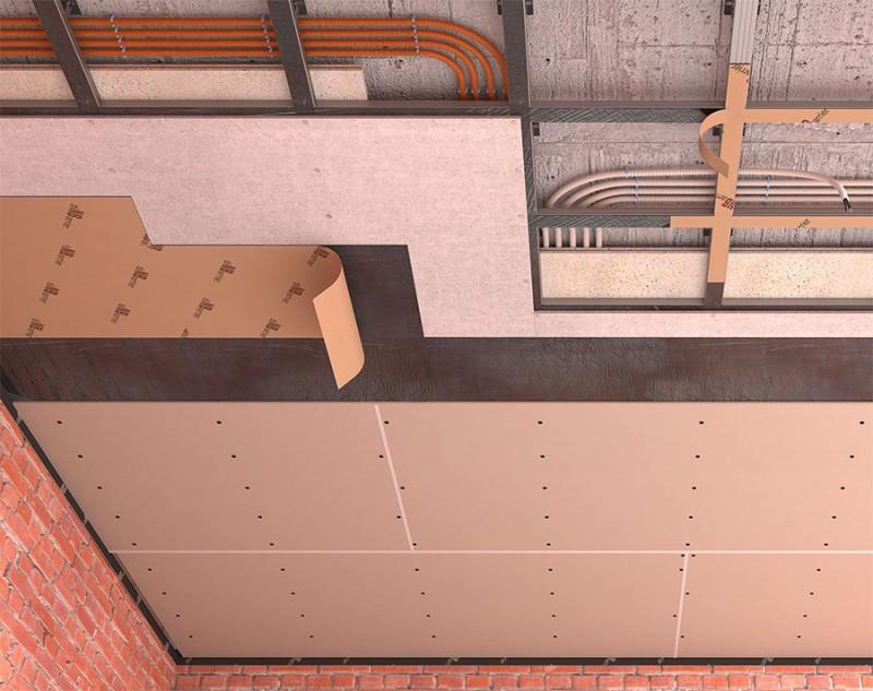 Каркасная звукоизоляция потолка на одноуровневых подвесах (потолок стандарт)
