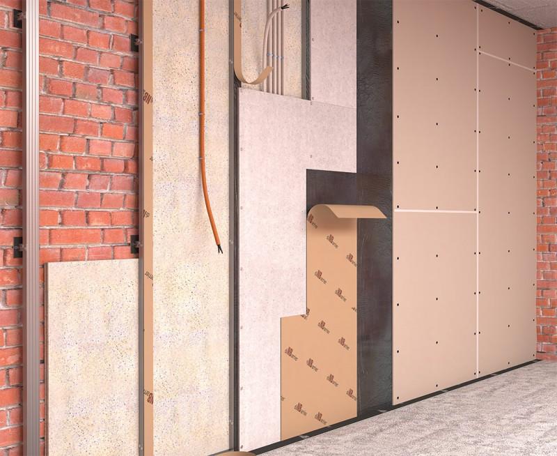 Каркасная звукоизоляция стен на прямом подвесе (Стена стандарт)