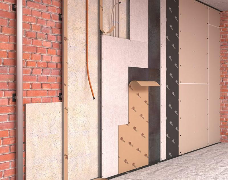 Звукоизоляция стен на прямом подвесе (Стена синема)